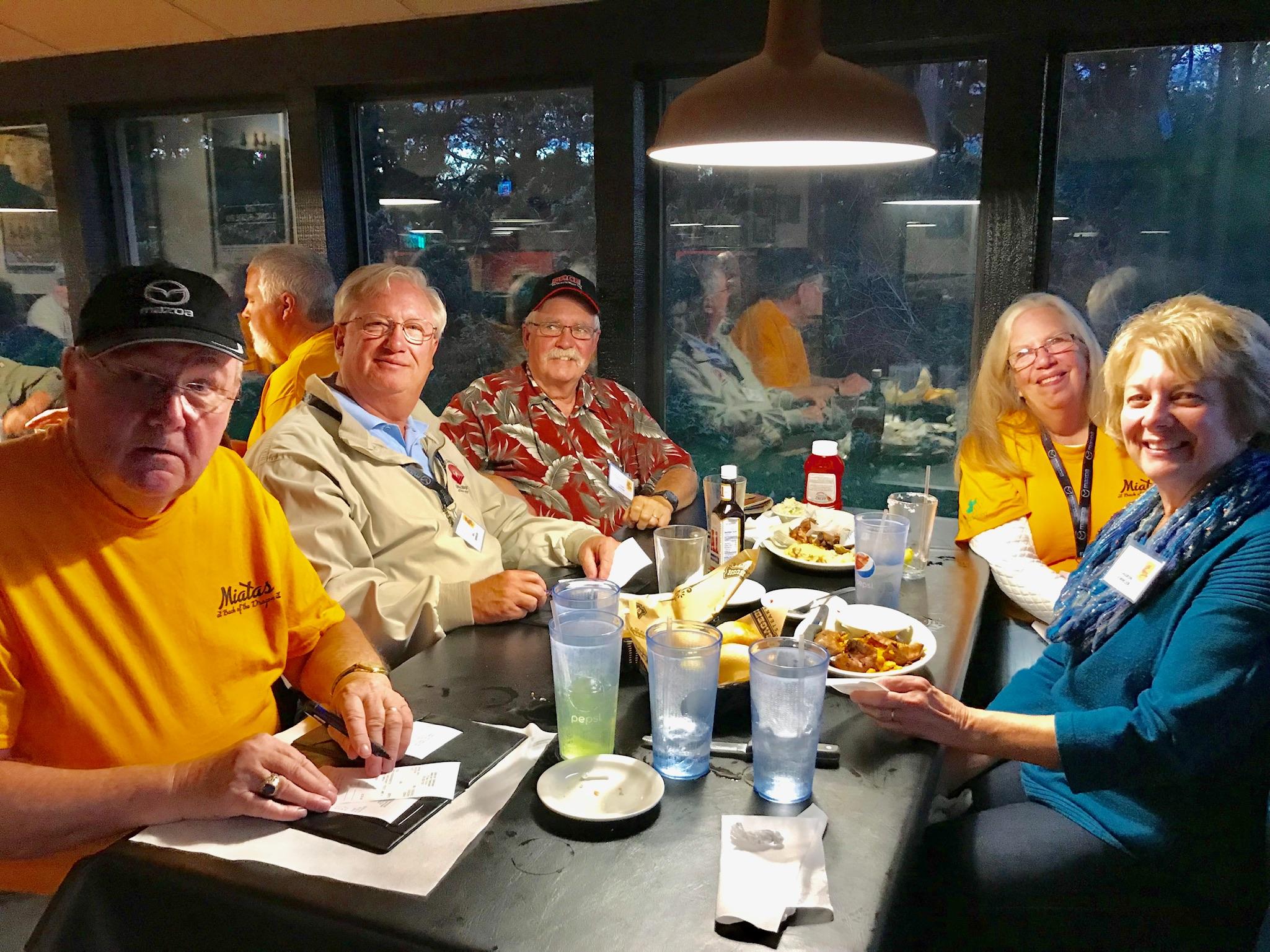 Saturday night dinner was at Sagebrush Steakhouse in Wytheville. Clockwise from left: Jim Pickett, Bill Rimmler, John Boyer, Pat Boyer, Sharon Rimmler.