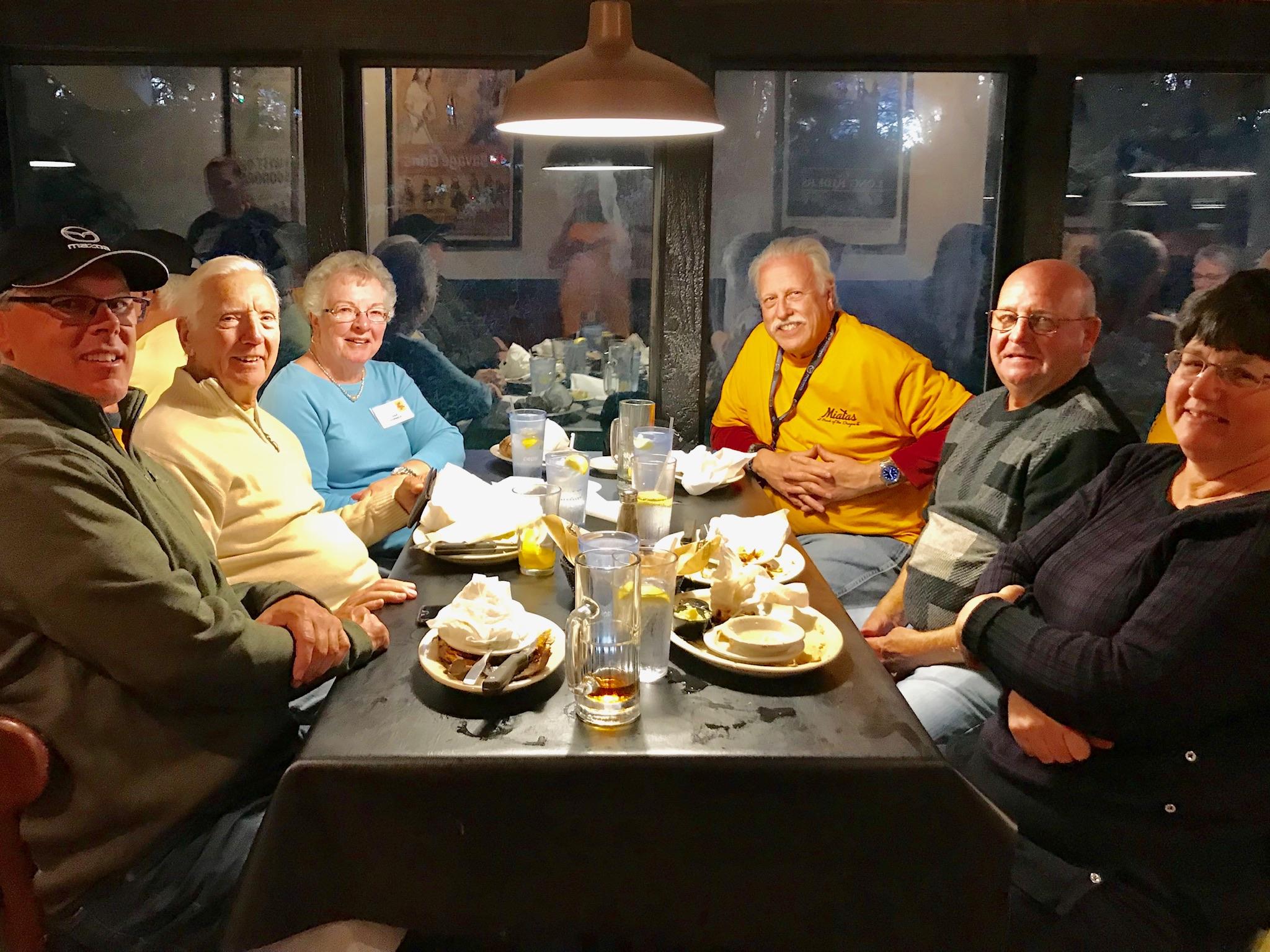 Saturday dinner at Sagebrush. Clockwise from left: Tracy Brown, Bill & Lana Horneck, Ken Ingram, Tom & Tammy Hickle.