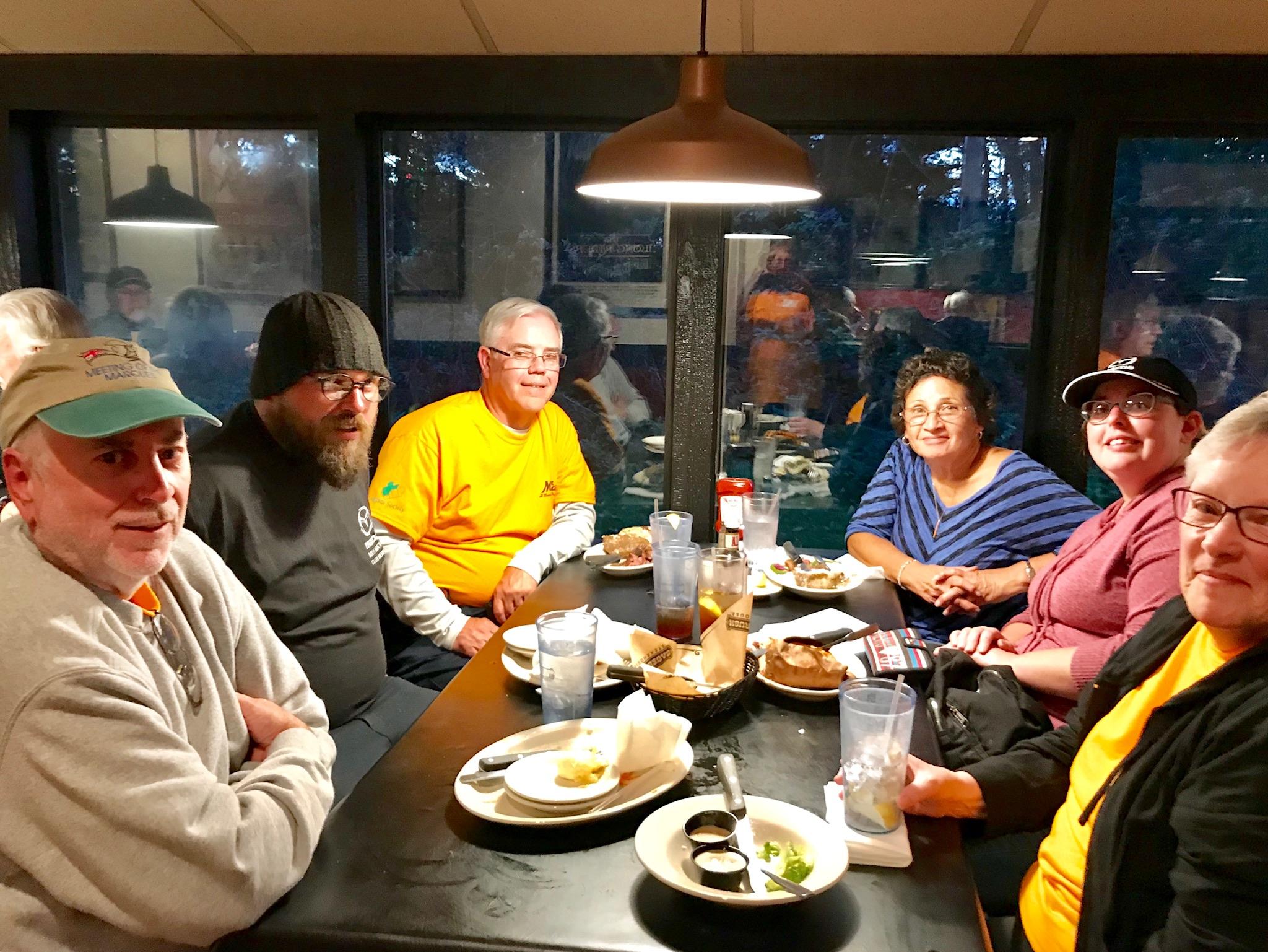 Saturday dinner at Sagebrush. Clockwise from left: Joe Neely, Josh Williams, Curt Springstead, Anne Springstead, Krystal Williams, Donna Neely.