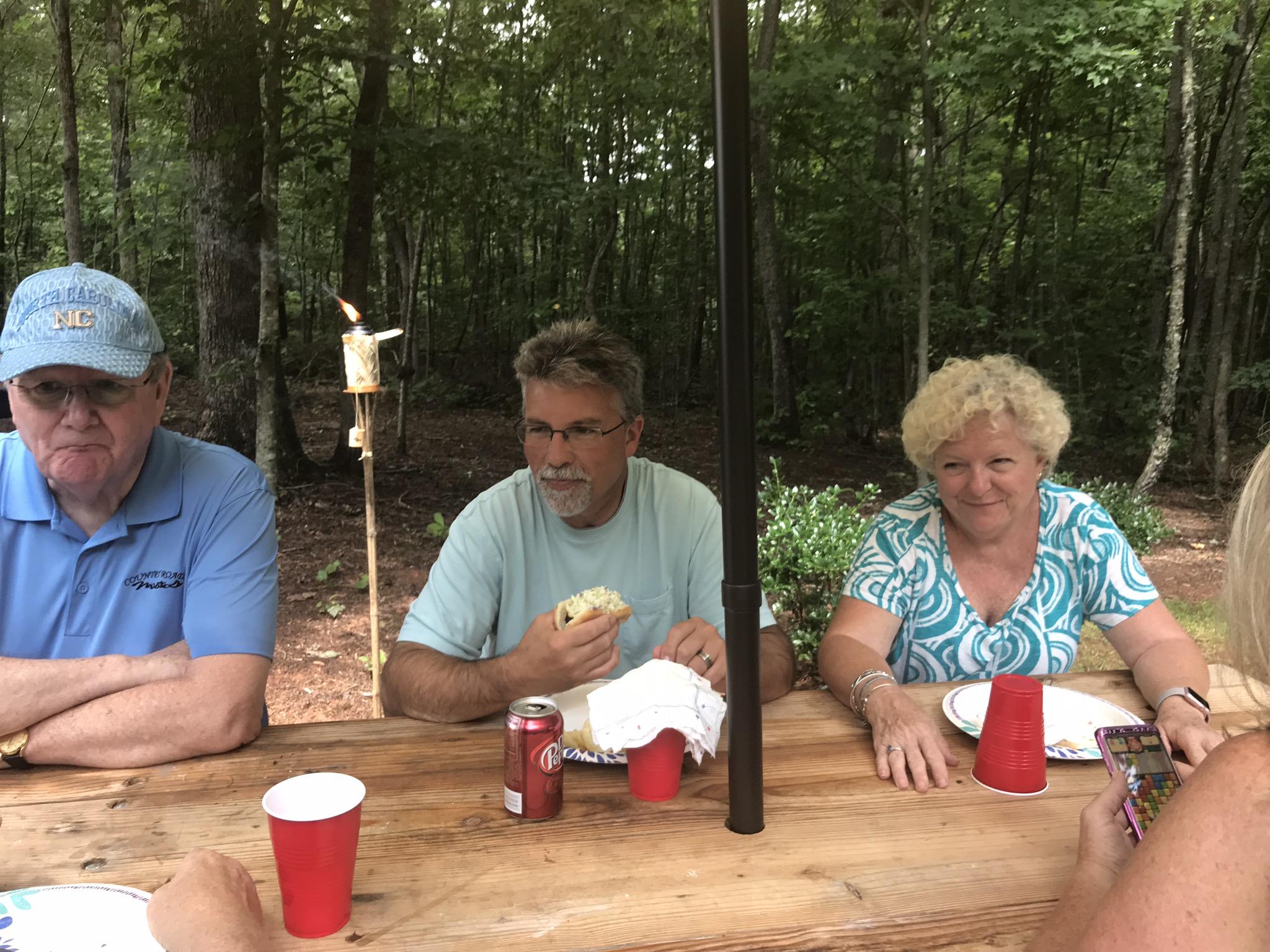 Jim PIckett, Lee & Tena Hough enjoying lunch.