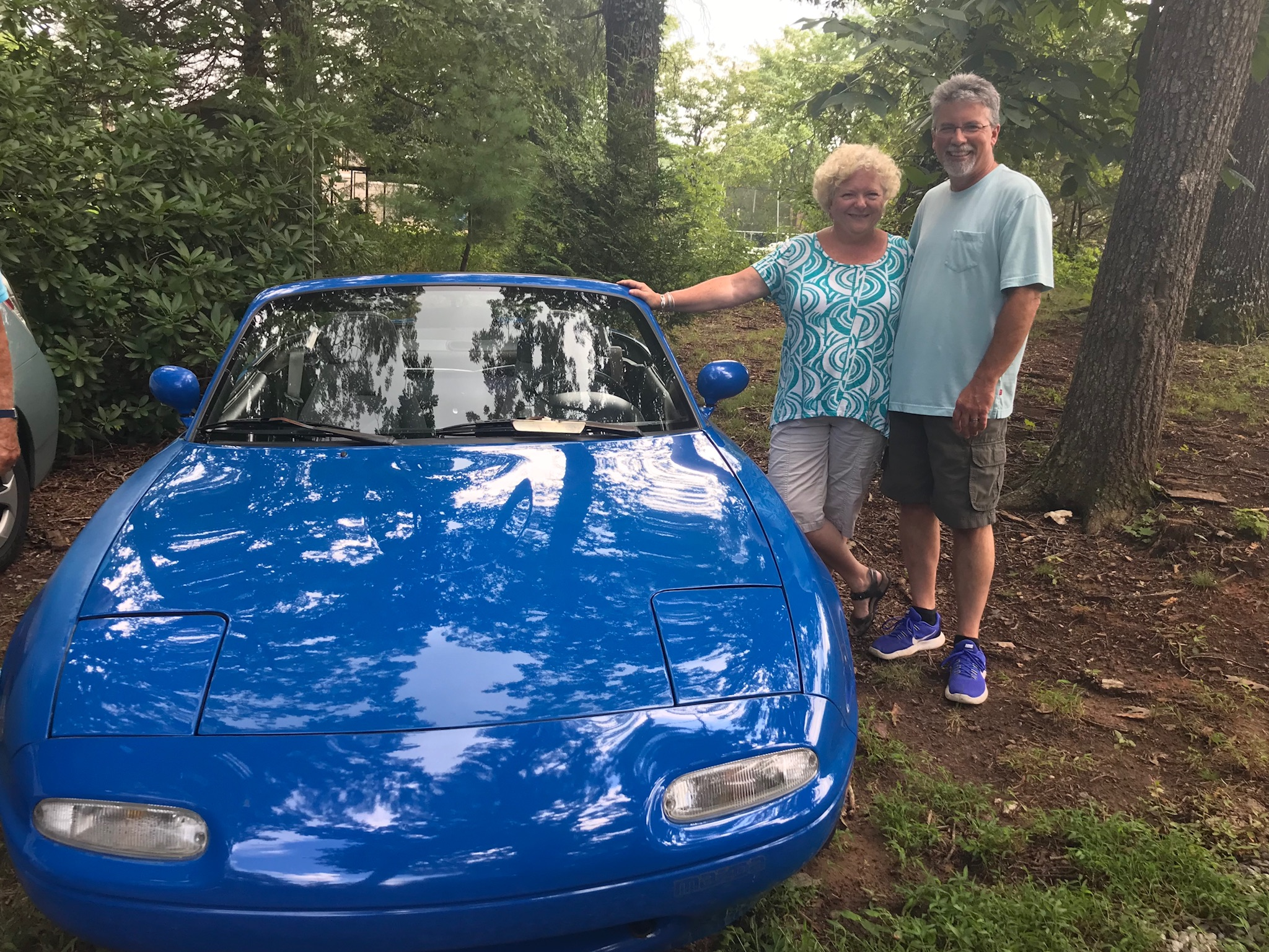 Tena & Lee Hough brought the Miata they had just purchased.