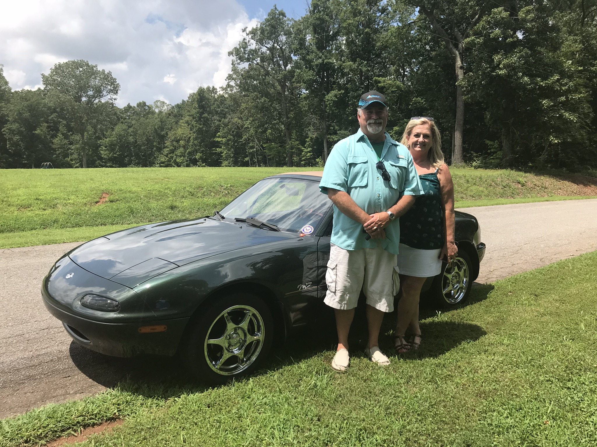 Ben & Lisa Hawley with the Miata they had recently purchased.