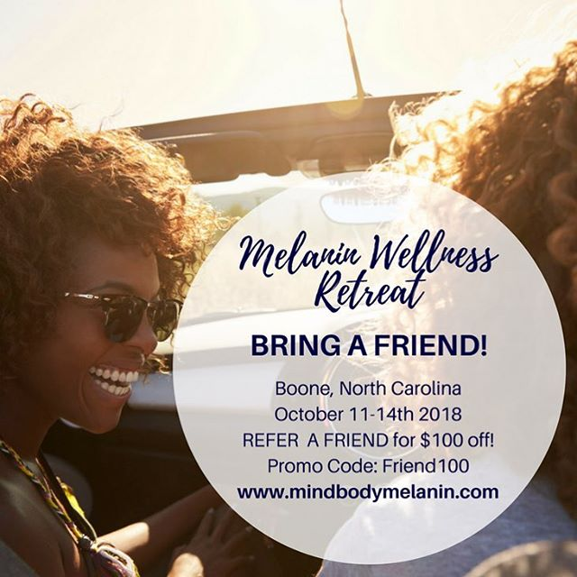 Bring your girl...bring your tribe to experience something different at The Melanin Wellness Weekend Retreat 🌻. Save $100 off registration... click the link in our bio to find out how you can join us on Oct. 11-14th in Boone, NC at @artoflivingboone ...♥️ Spots are filling up quickly... Tag your girl below...this may be just what she needs👇🏾#mbmretreat2018 #wellnessretreat #mindbodymelanin #melanin #melaningirlwellness #blackgirlmagic #blackgirlsrock #mindbodyspirit #retreat #sisterhood #melaninqueen #yoga #meditation #wellness #mindbodysoul #selfcare #mindbodyspirit #blackwomen #blacklove #blackmentalhealth #selflove #blackmentalhealthmatters #emotionalwellness #spiritual #spiritualgrowth #artofliving #aolretreat