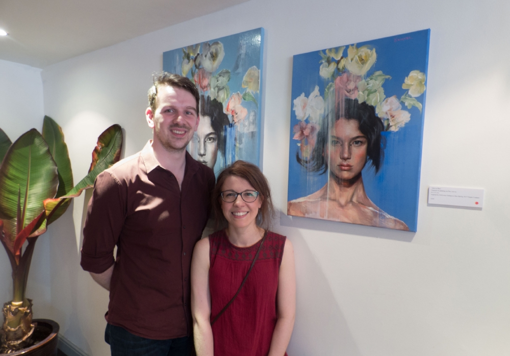 Collectors Suzie and Daniel with their new acquisition 'Dior in Blue'