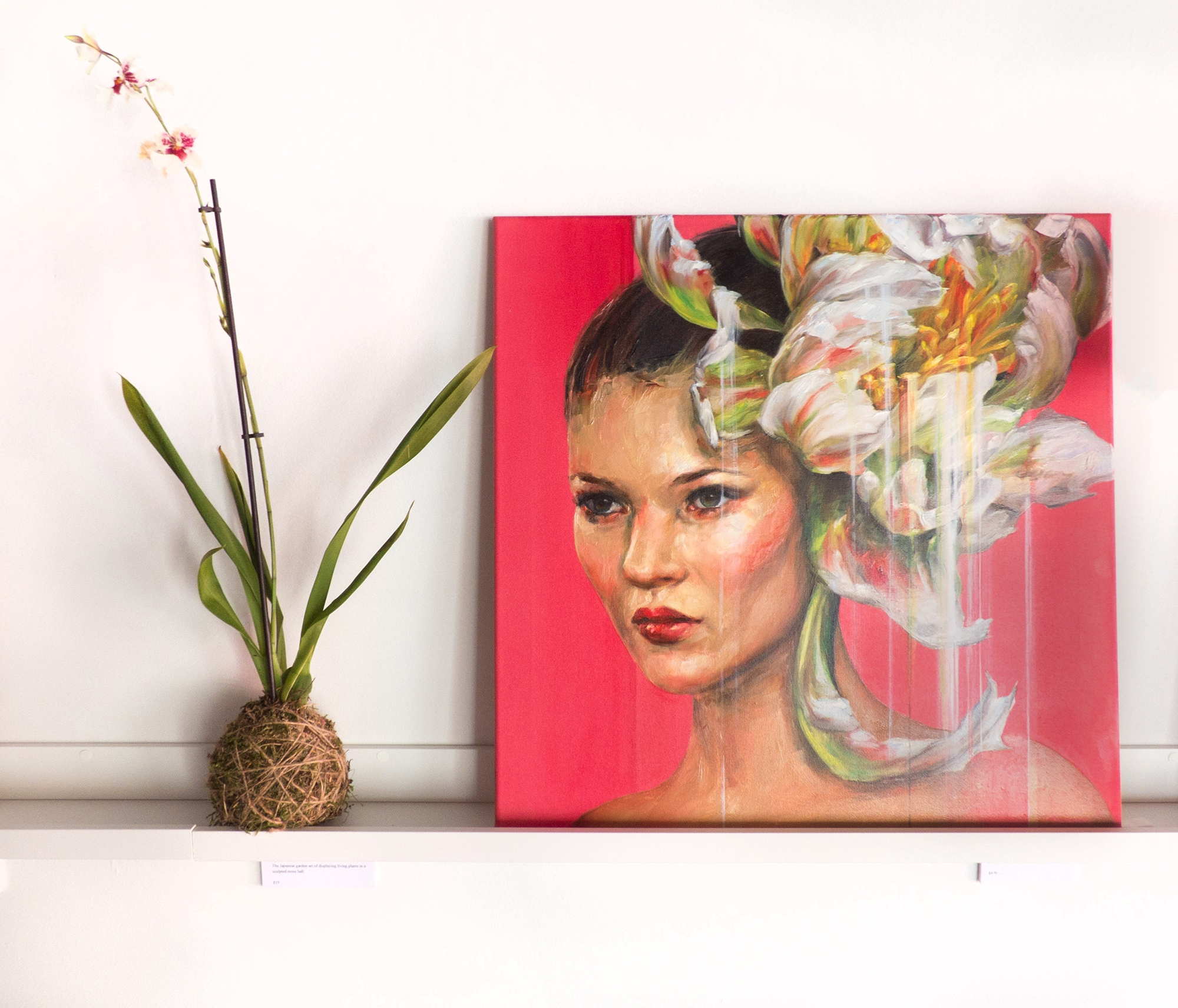 My oil painting of fashion icon Kate Moss, painted from my original source work in digital collage and transformative photoshop. Styled here by The Plant Room with beautiful Kokedama orchids.