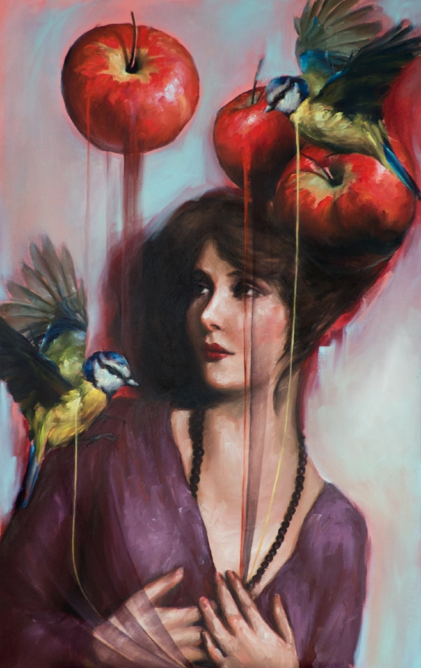 'Mary with Apples', oil on canvas, 2018