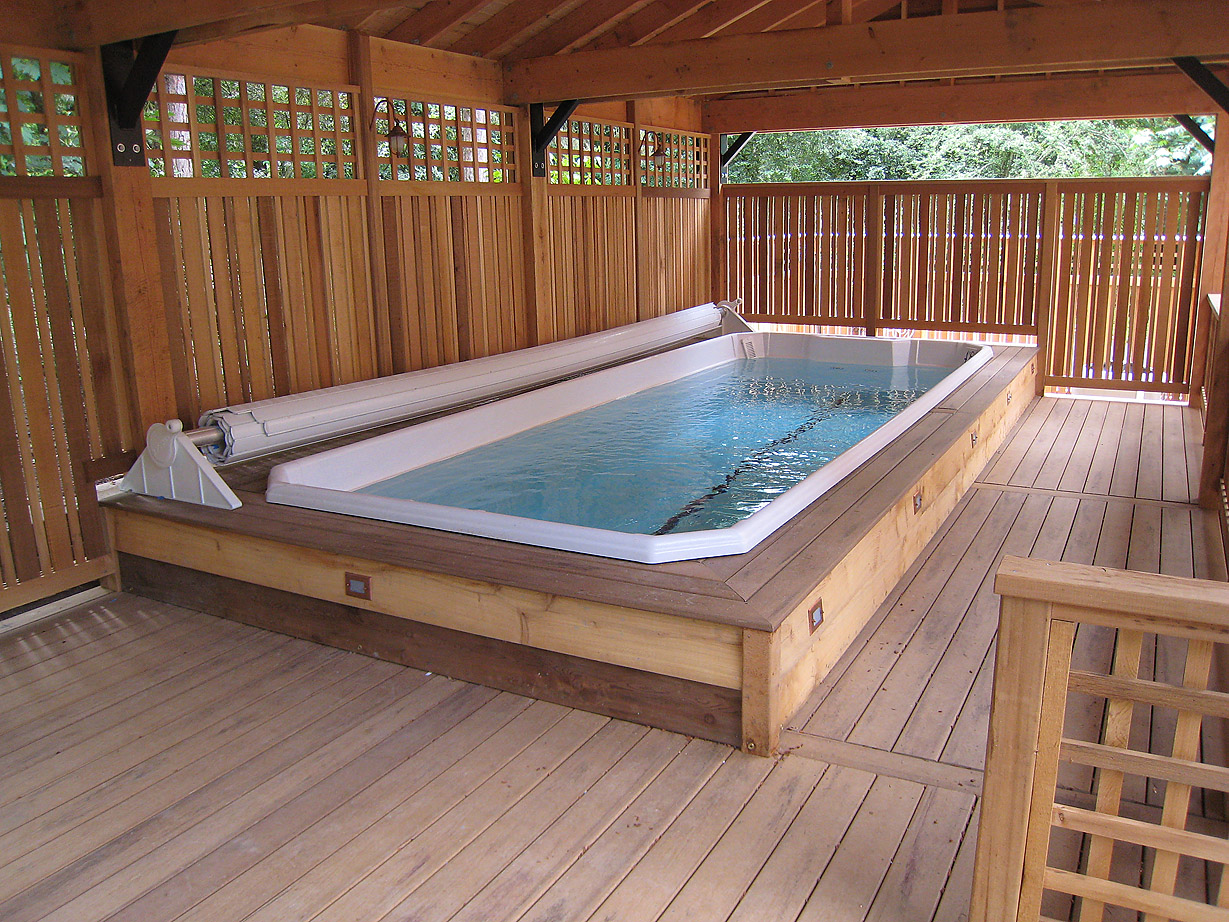 Swim Spa with Cover Retracted
