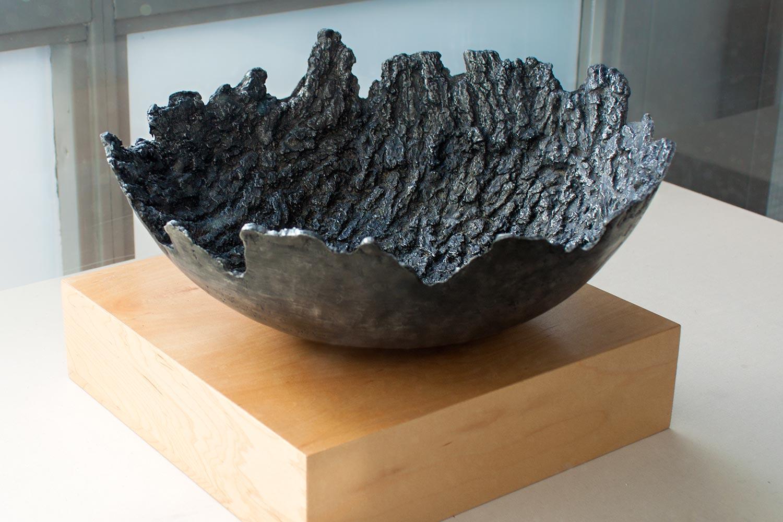 """Bark Bowl   Cast aluminium, black patina  ~18"""" across  2016"""