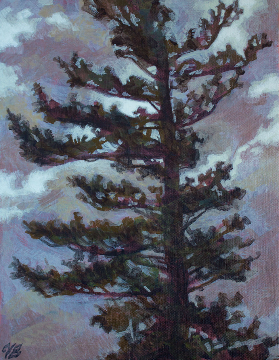 "Lonely Tree   Acrylic on canvas  8 x 10""  2016  SOLD"