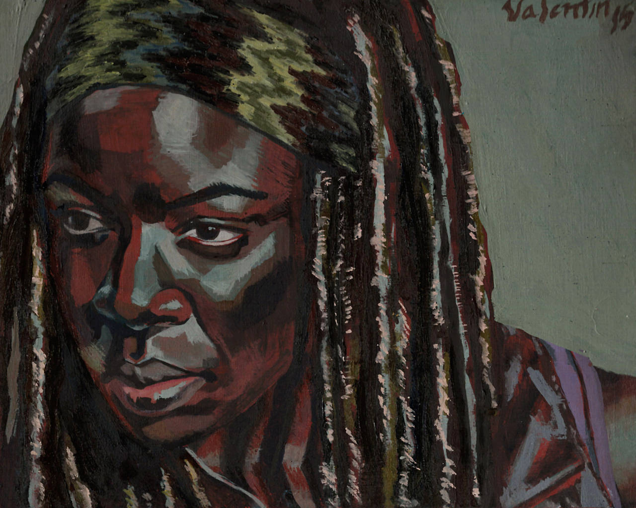 "Michonne     Oil on board    8 x 10""    2015"
