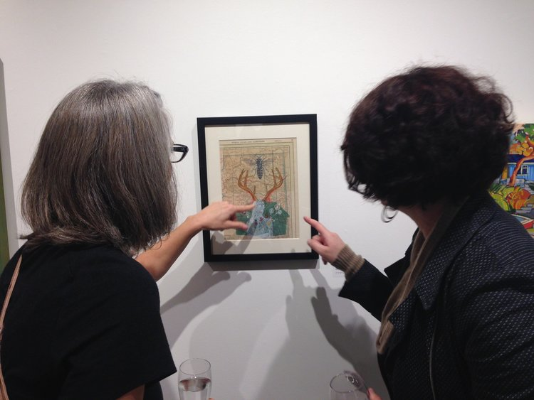 Touching the art ! Casting spells ! Nadina's mixed media piece,'Dreaming of Home