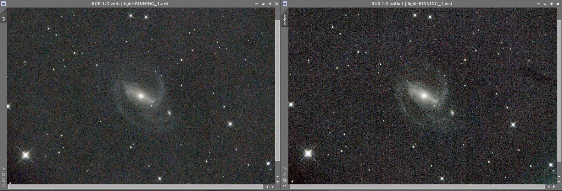 Το αριστερό fit έχει δεχθεί calibration frames ενώ το δεξί όχι. Η διαφορά είναι ακόμα πιο έντονη σε στακαρισμένη φωτογραφία.