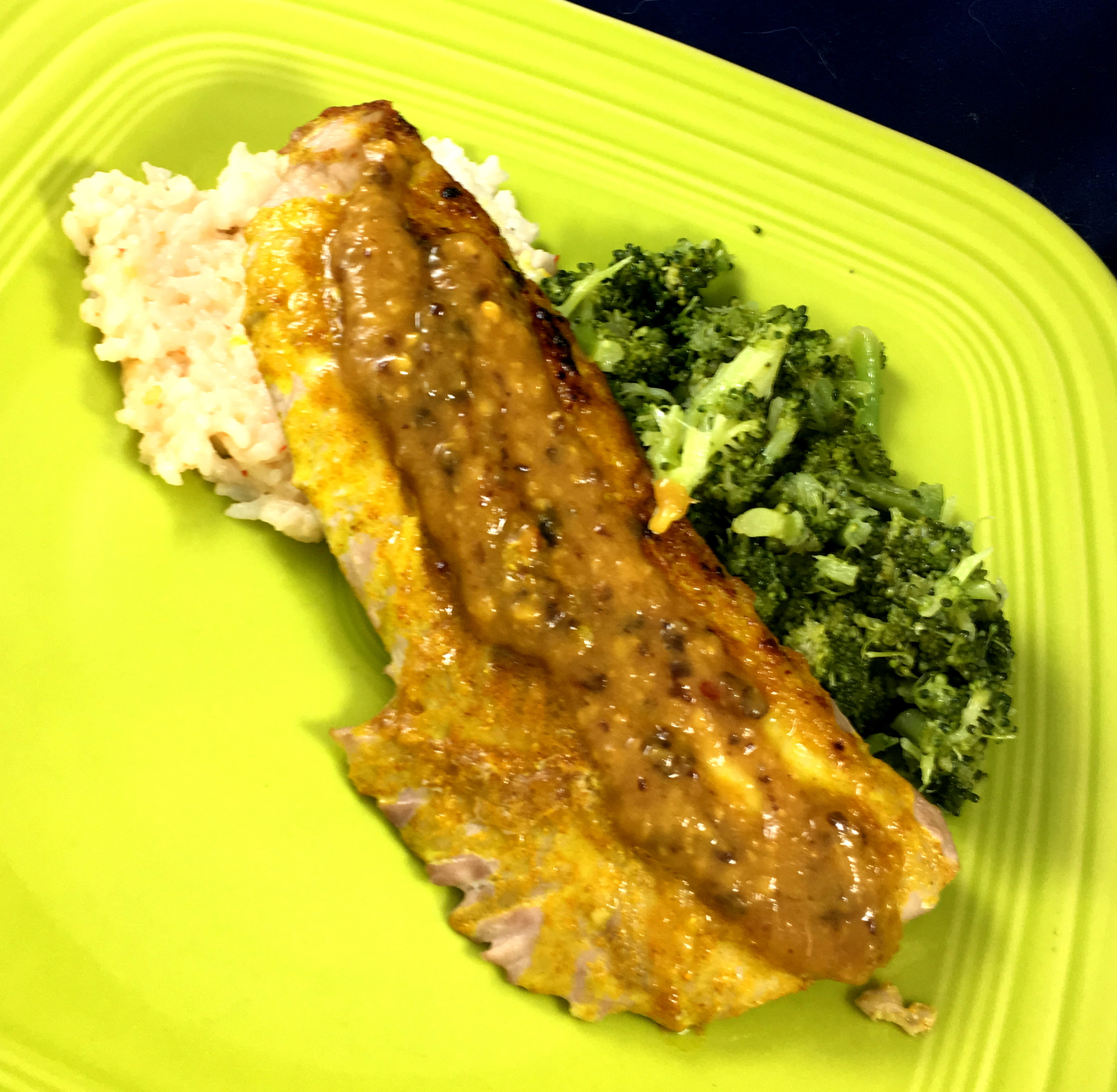 Mango Chutney Yellowtail over Coconut Lime Rice and Steamed Broccoli