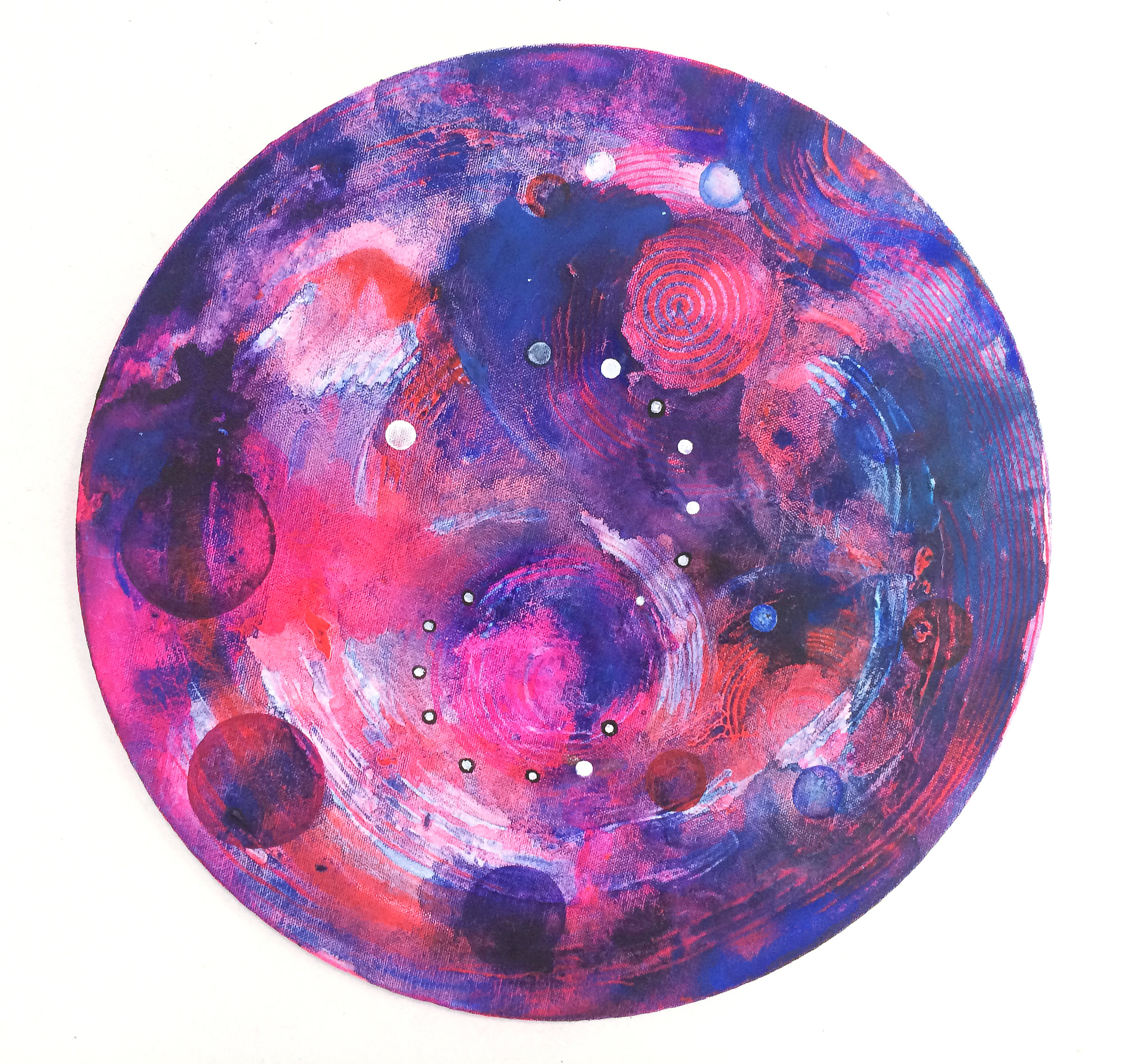Zero Gravity   20 inch diameter  Acrylic on Canvas  2013