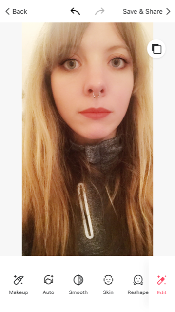 The final photo - Not saying that this is a 'good' photo but I've edited: eyeshadow, eye liner, lipstick, eye shape, eye size and even my skin colour.