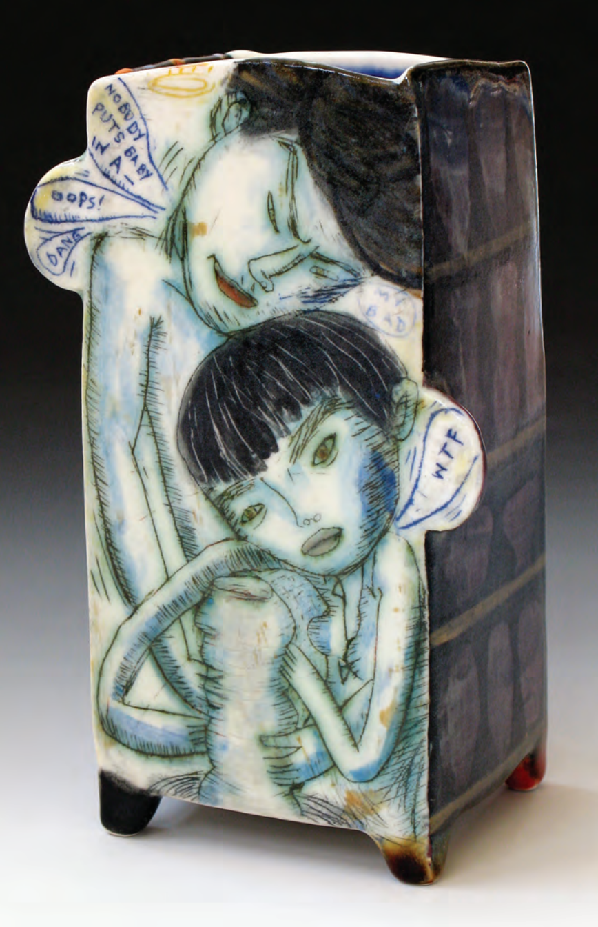 Kevin Snipes, Unchanged Melody. 2012. Porcelain, glaze, underglaze, oxide wash, mid-range electric. 7 x 3.5 x 3 in. Courtesy of the artist.