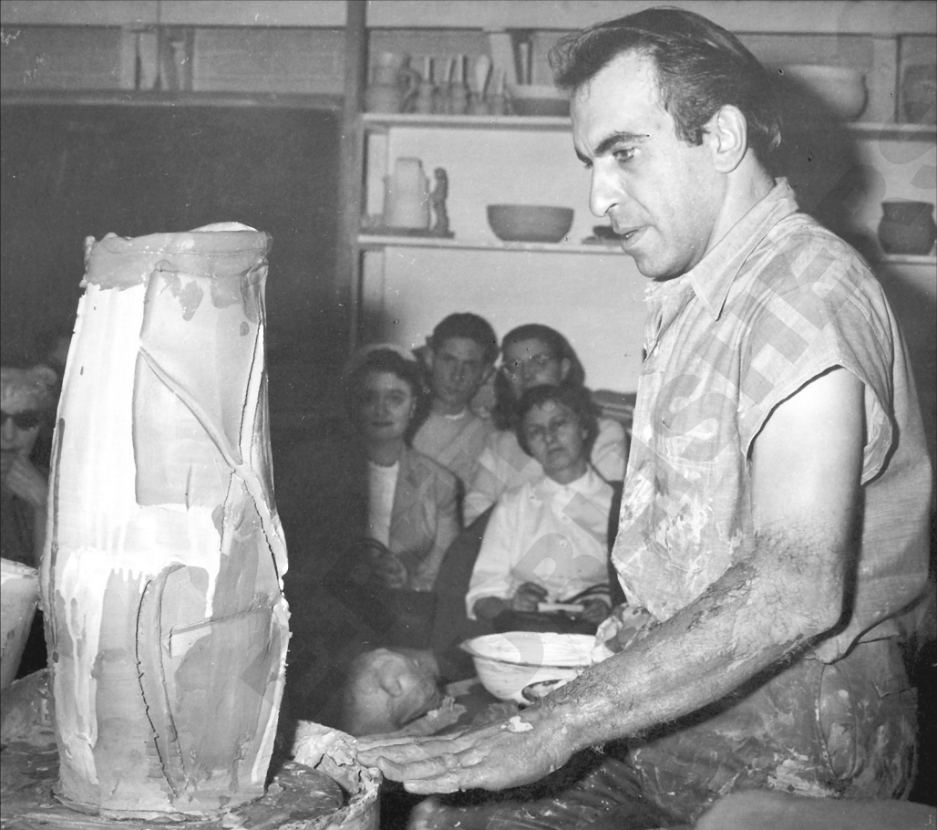 Peter Voulkos giving a demonstration at Greenwich House Pottery in 1962. (Greenwich House Pottery Archives)