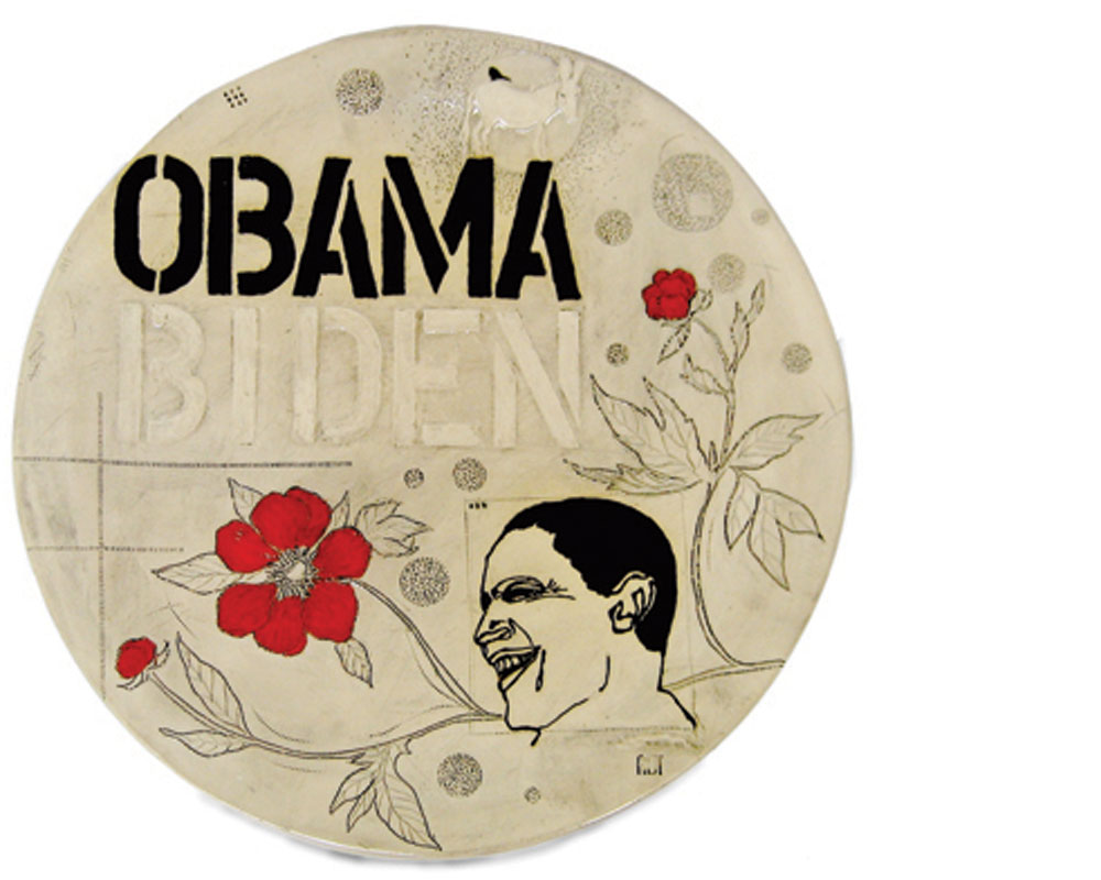 Diana Fayt  Obamaware platter, 2008, stoneware, glazes, hand-painted {h. 1.5 in, dia. 17 in}.