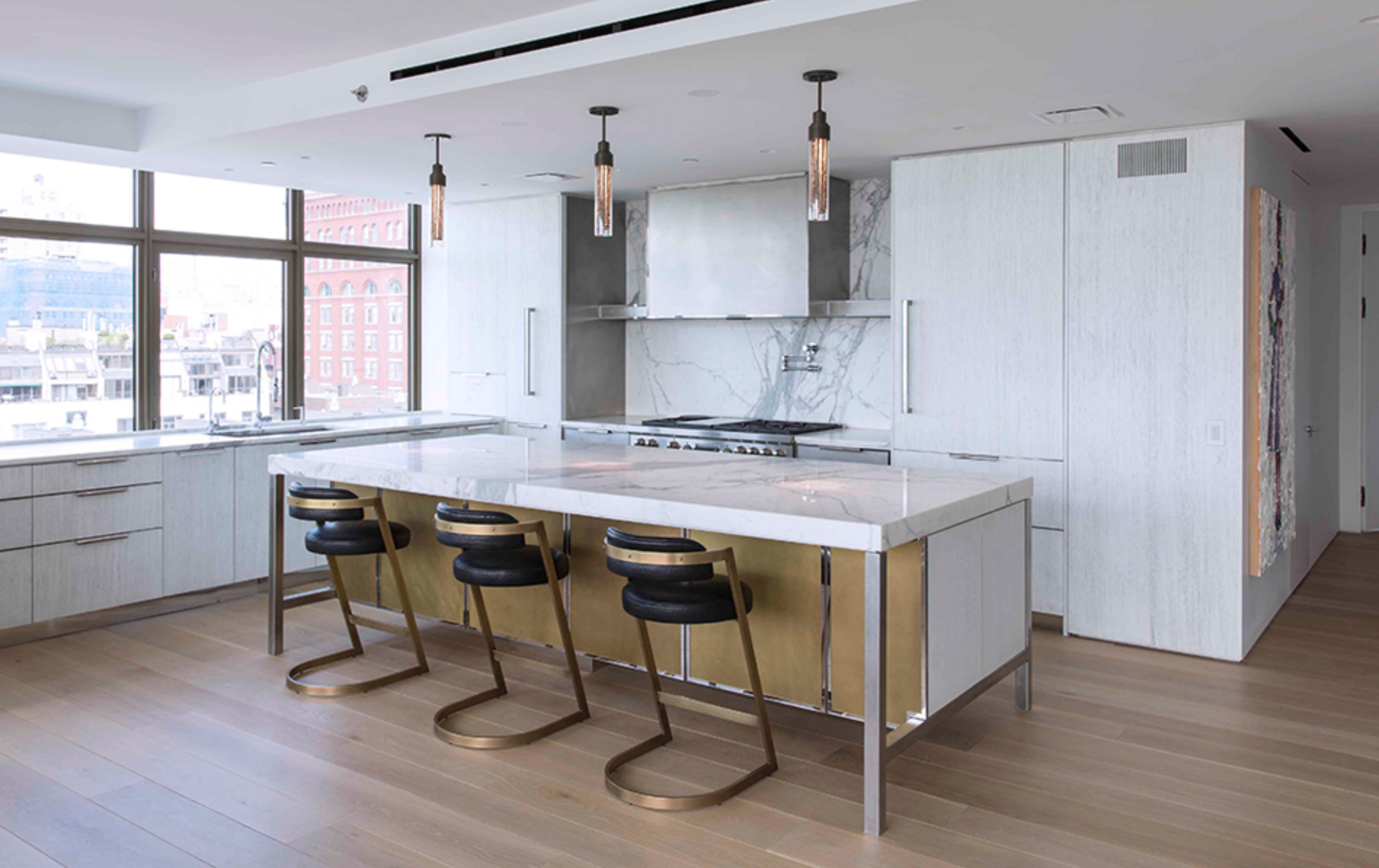 Amuneal designed, fabricated and installed this custom kitchen in New York. Photo by Goldenberg Photography