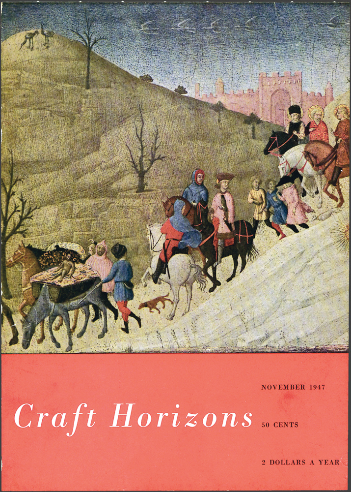 Sassetta (Stefano di Giovanni), The Journey of the Magi, c. 1433-35, tempera on gold and wood, 8.5 x 11.75 in., Craft Horizons, November 1947, Volume 8, Number 19