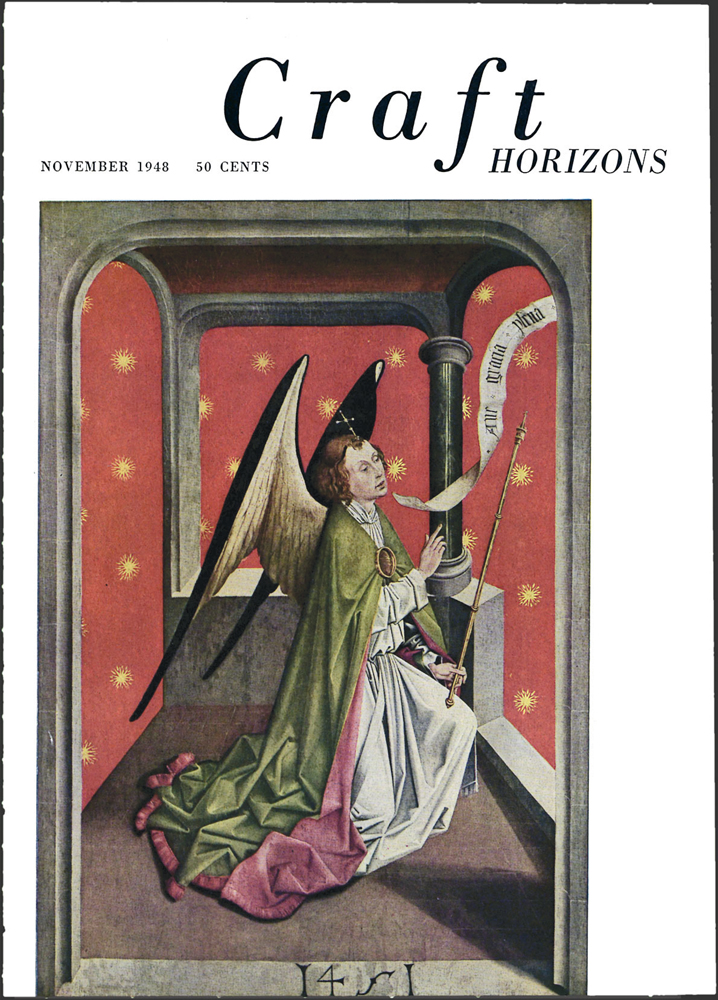 School of Picardy, Angel of the Annunciation, 15th century, Craft Horizons, November 1948