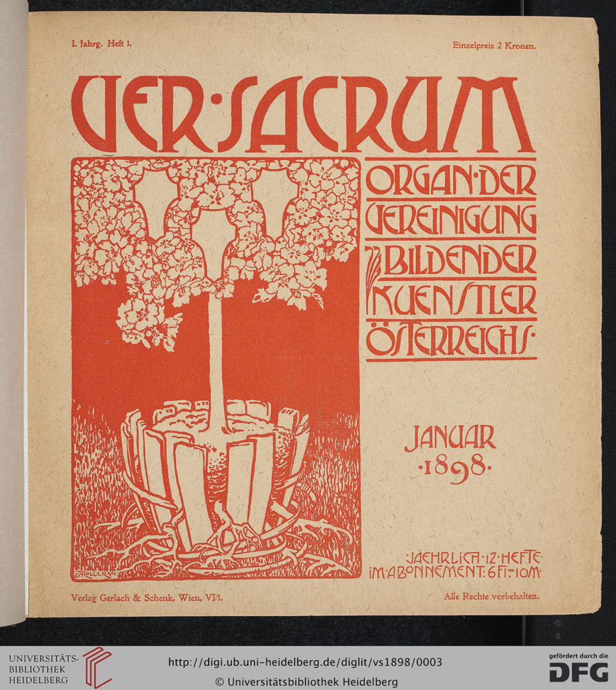Alfred Roller and Koloman Moser, Ver Sacrum, January 1898, Volume 1, Issue 1
