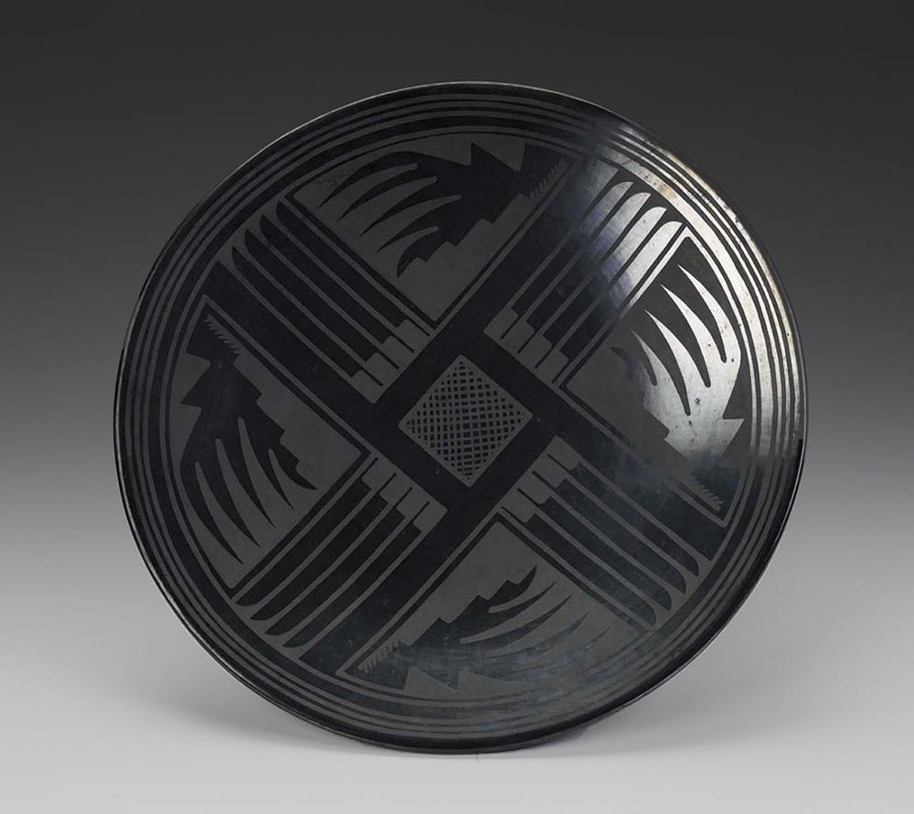 Julian Martinez and Maria Martinez, Plate, ca. 1930s, blackware, 1.9 in. x 14.6 in. Smithsonian American Art Museum. Gift of International Business Machines Corporation