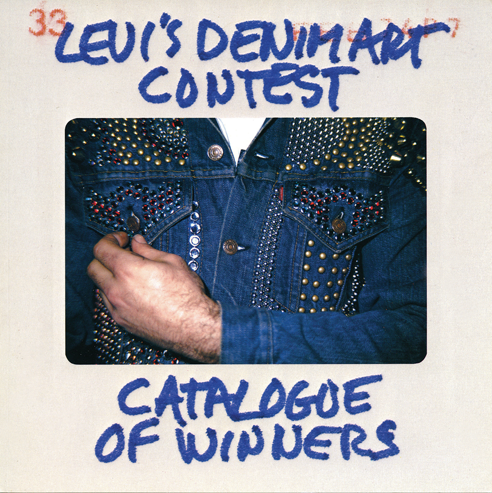 The cover of Levi's Denim Art Contest Catalogue of Winners  Levi's Denim Art Contest Catalogue of Winners, Baron Wolman / Squarebooks in conjunction with Owens & Company, 1974. Design by Tony Lane