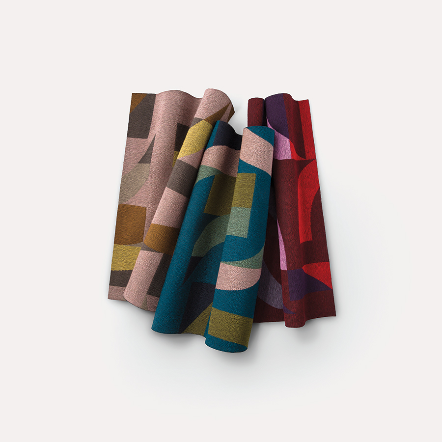 Future Tense is composed of five upholstery designs; the one seen here is Schema.  Courtesy Luum.