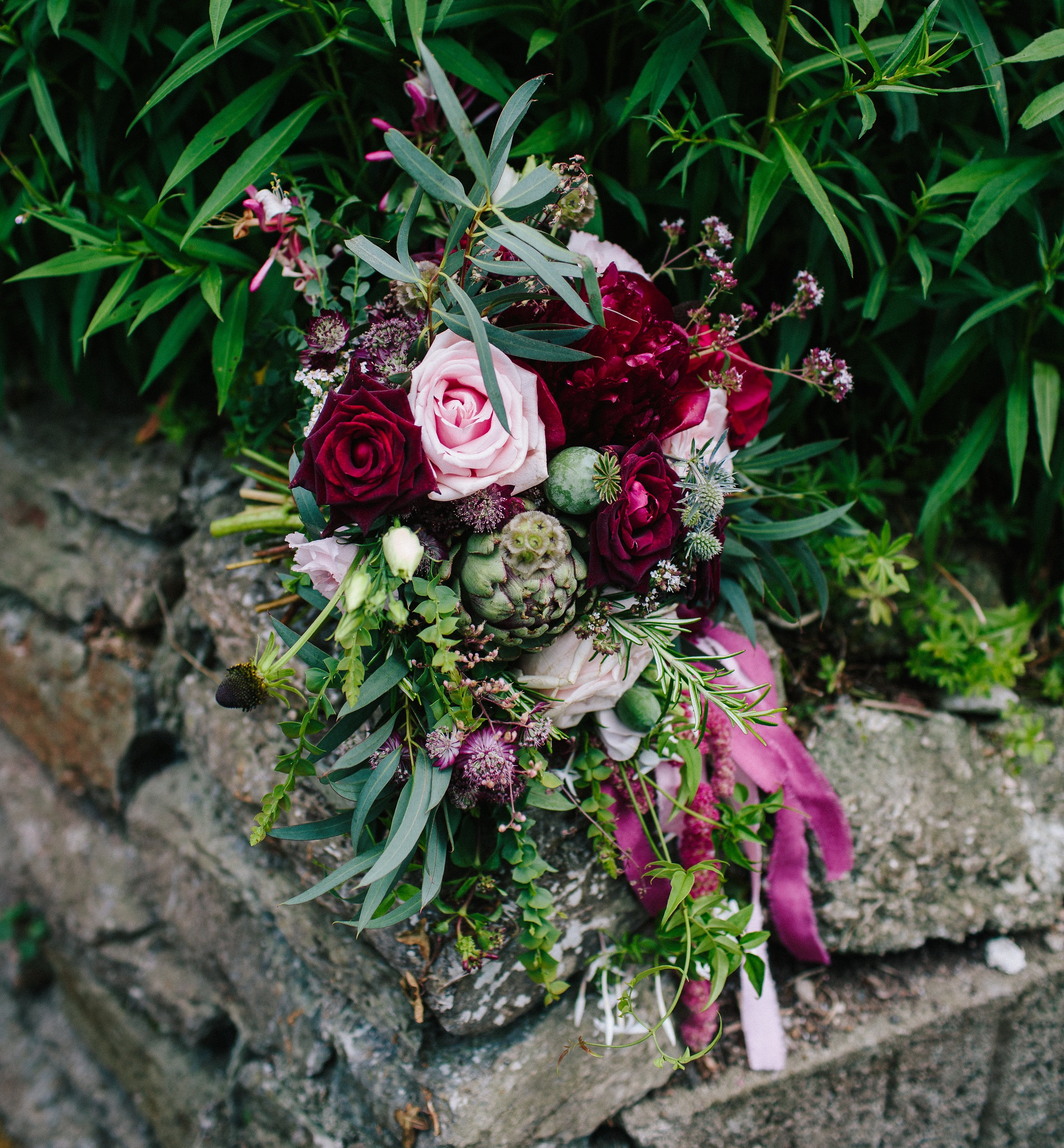 The beautiful marjoram flowers can be seen in the top right of this photo of the wedding bouquet we made for Mary, taken by Nathan English Photography