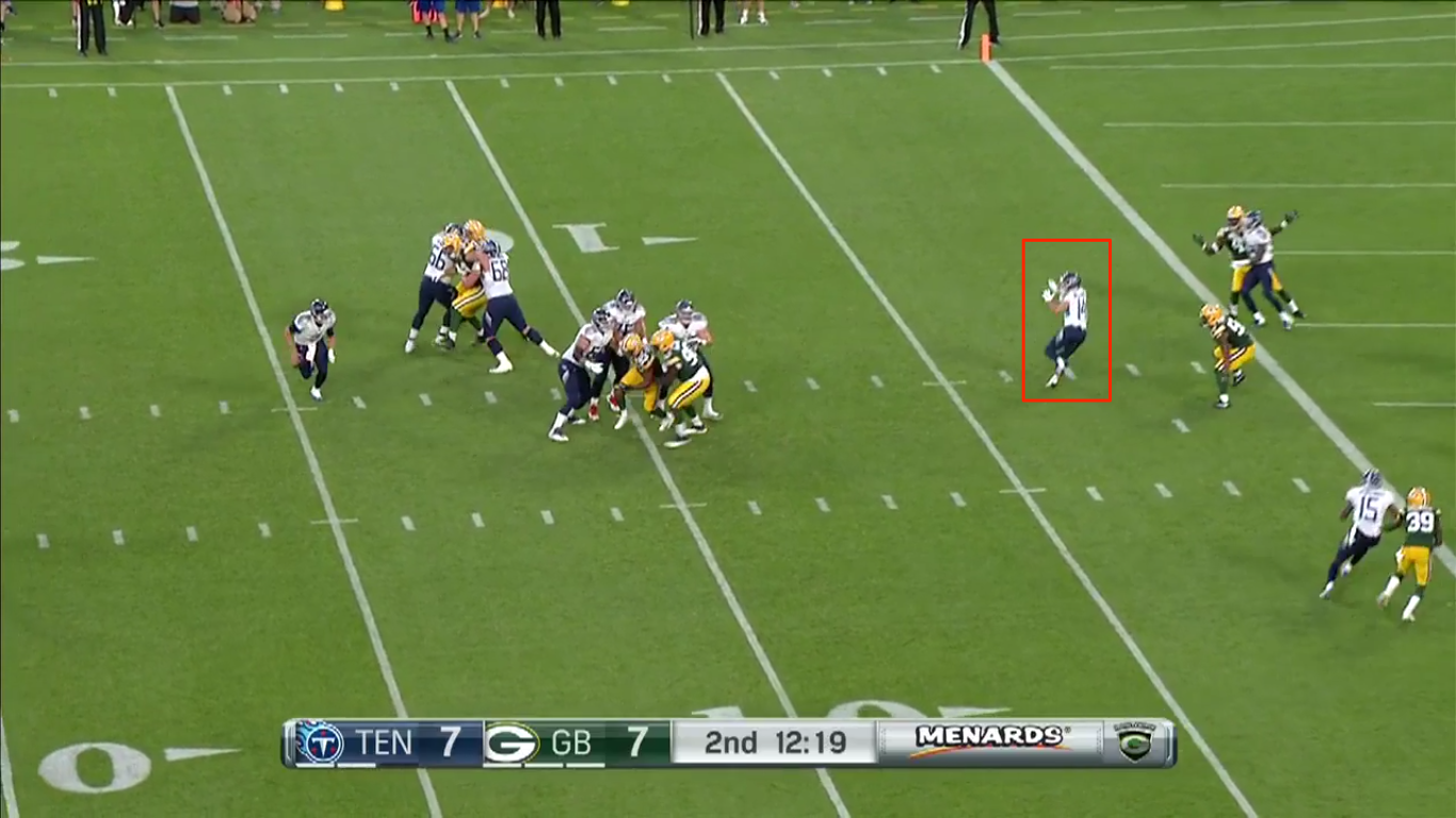 Gabbert opted to scramble instead of hanging in the pocket and making the throw.