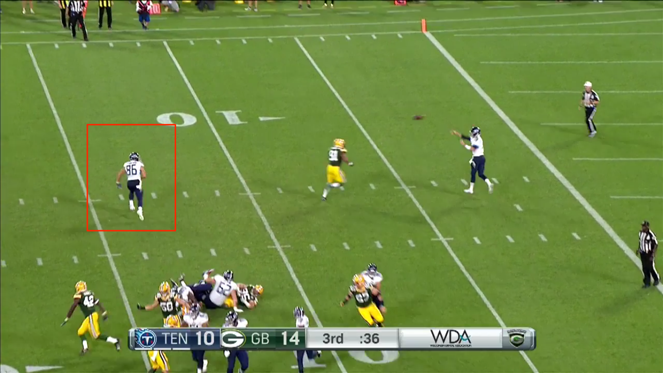 If Anthony Firkser didn't trip on this play it could have gone for a nice gain.