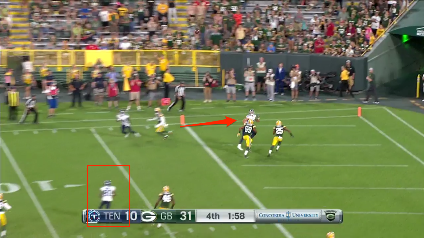 Falk on the big play try in double coverage for the TD, but had Burnett underneath eventually break free with Veasy in the flat open