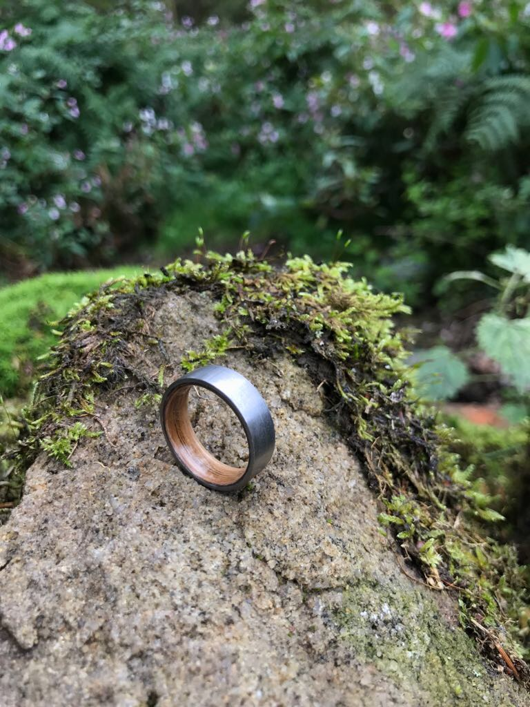 Titanium Ring with wood inlay