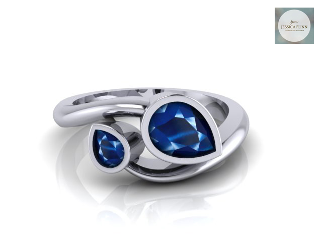 Pear Shaped Sapphire Engagement Ring by Jessica Flinn Jewellery