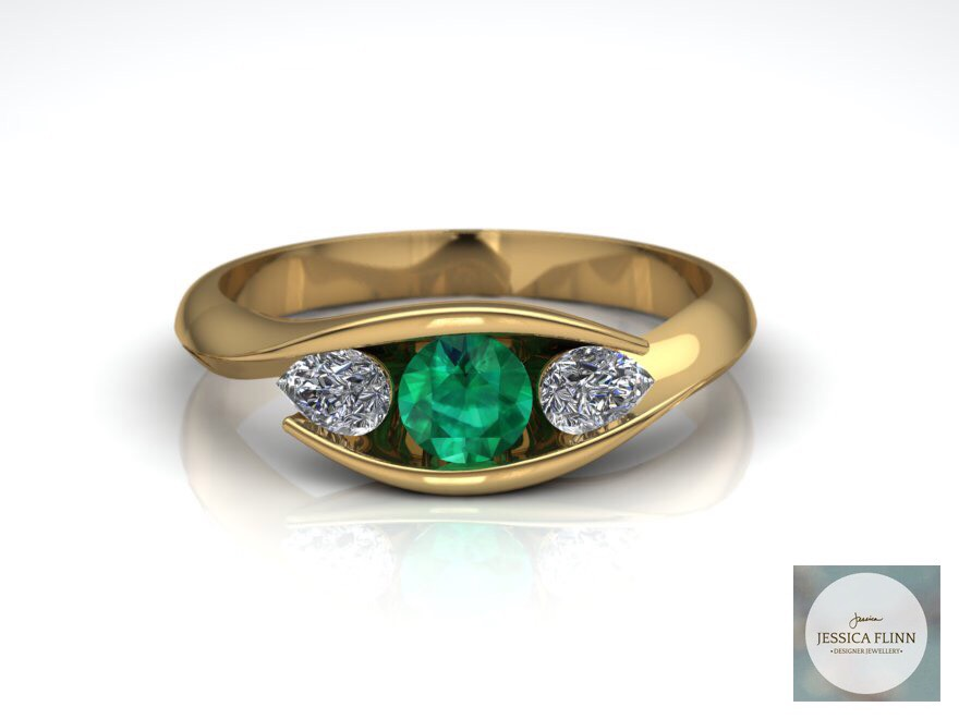 Yellow Gold, Emerald and Pear Shaped Diamond Engagement Ring by Jessica Flinn