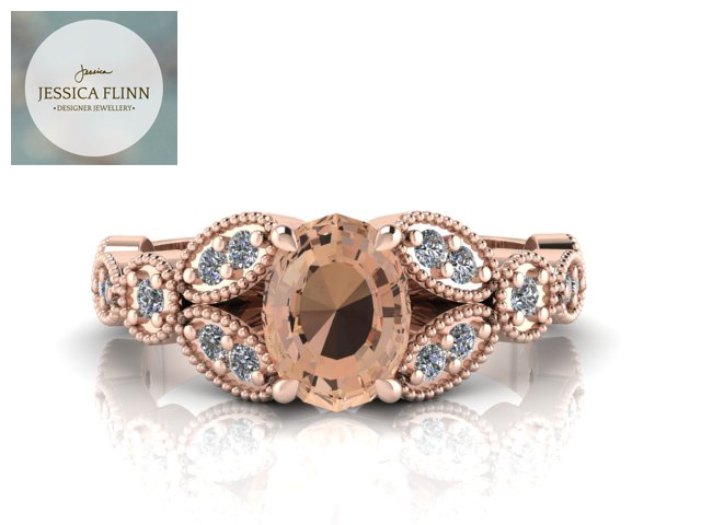 Morganite and Diamond Red Rose Gold Enagagement Ring by Jessica Flinn