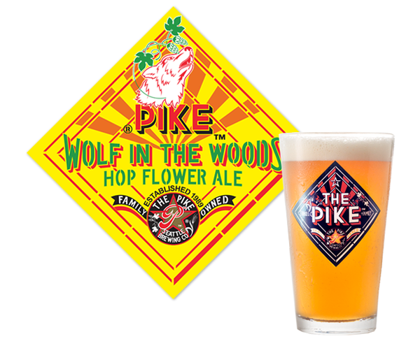 Pike Wolf in the Woods logo and pint of beer