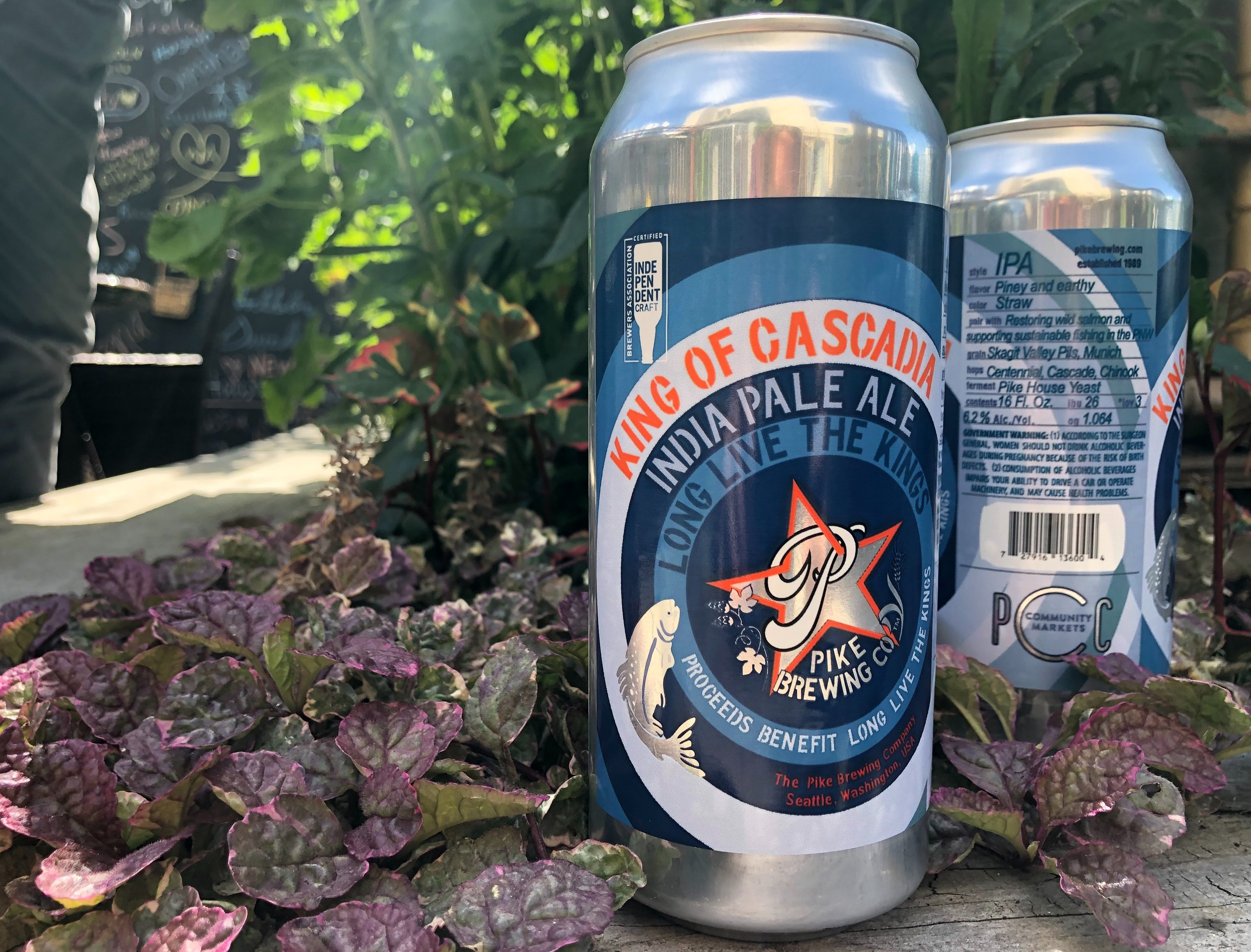 Pike KIng of Cascadia IPA can in the garden