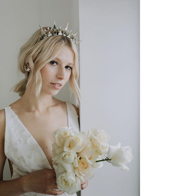 Modern brides. This fab shoot with the gorgeous @anemonestyle is currently up on @lovemydress.  Go check it out!  Stylist: @and monestyle Photo: @rachel_takes_pictures  Model: @ausrineolivia Headpiece: @tillythomaslux  Flowers: @bloom_of_the_block