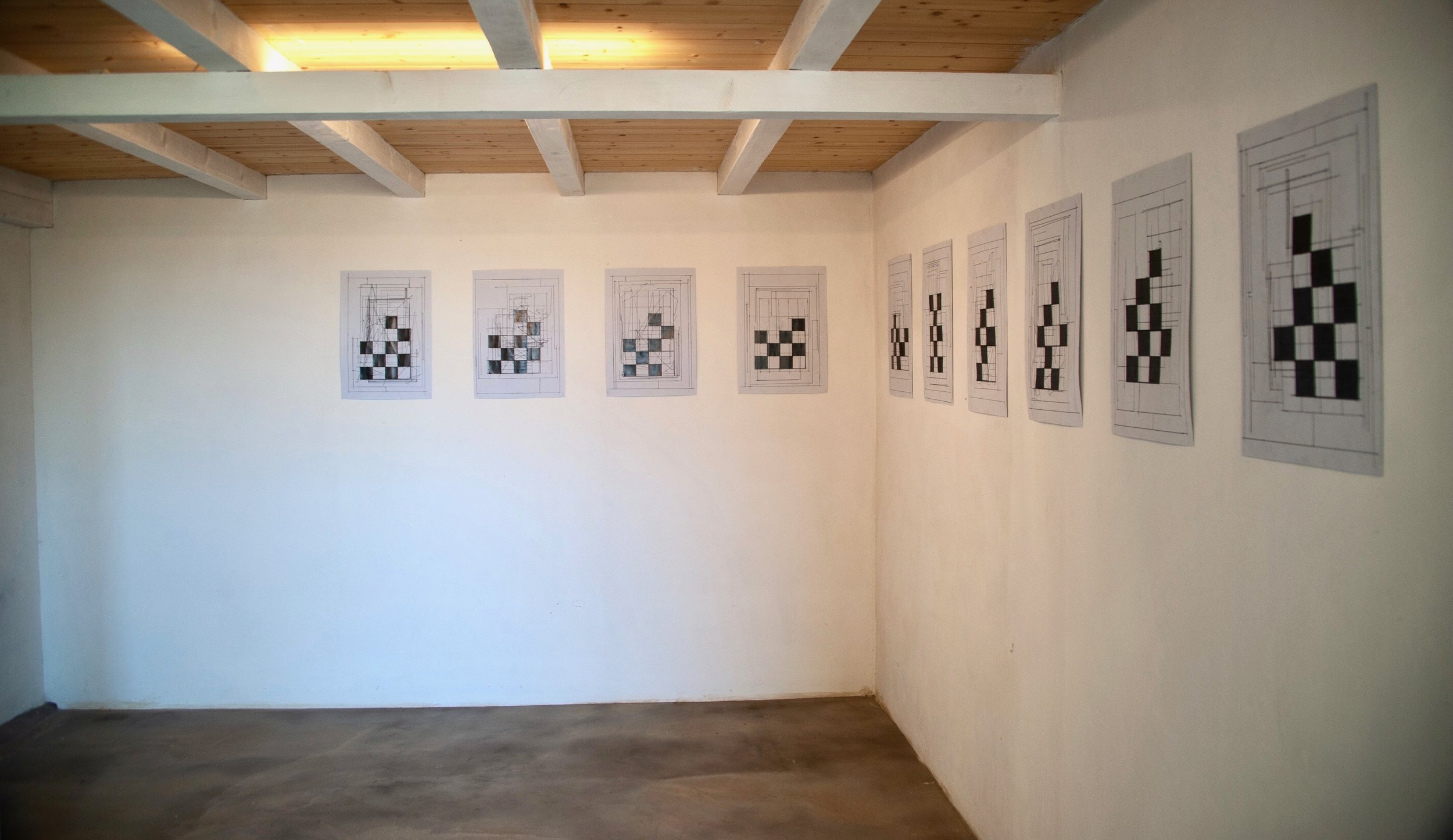 Installation view of  Borderline  at La Vallonea Works by Sebastian Lloyd Rees