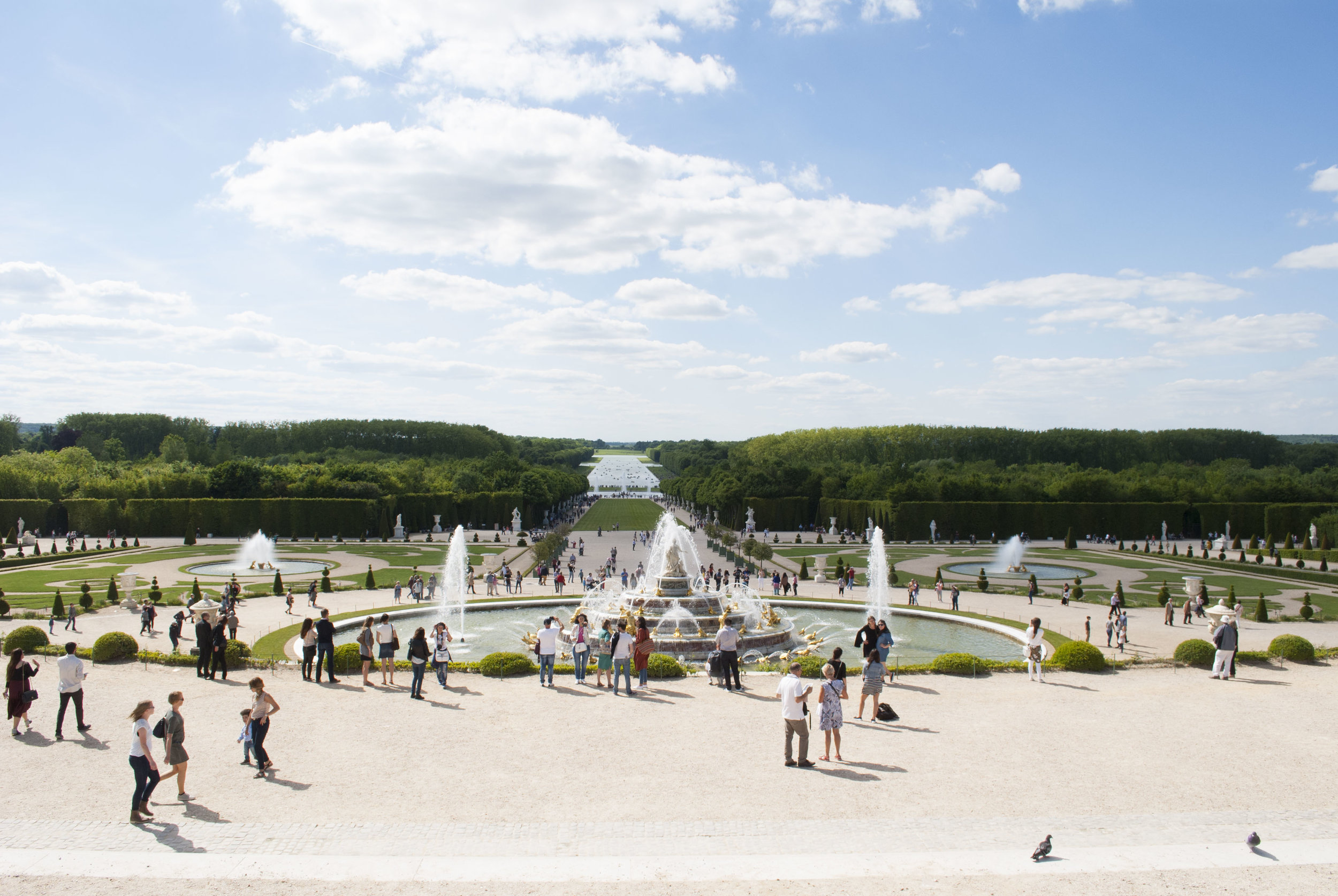 The Gardens of Versailles on a busy Sunday.