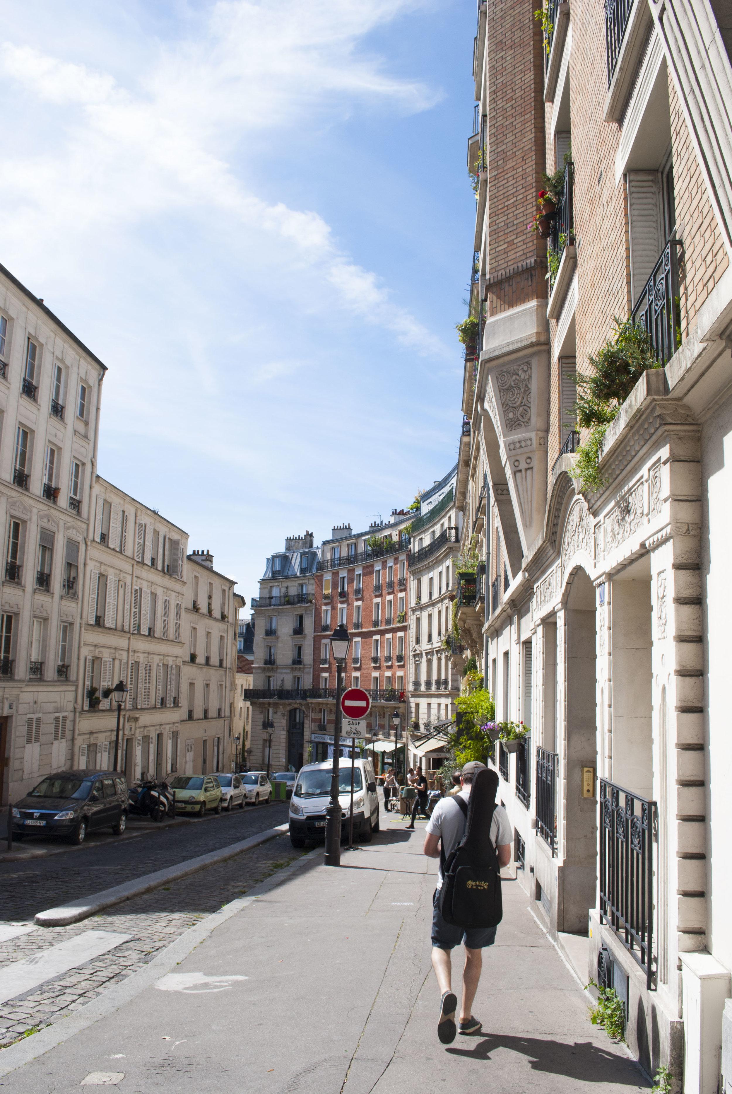 Sam walking through Montmartre.