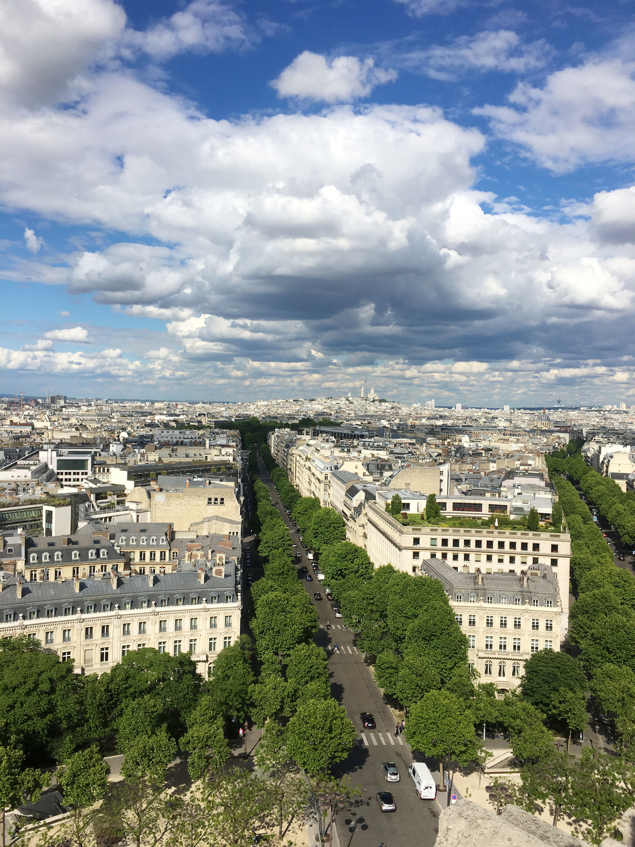 View from the top of the Arc de Triomphe.