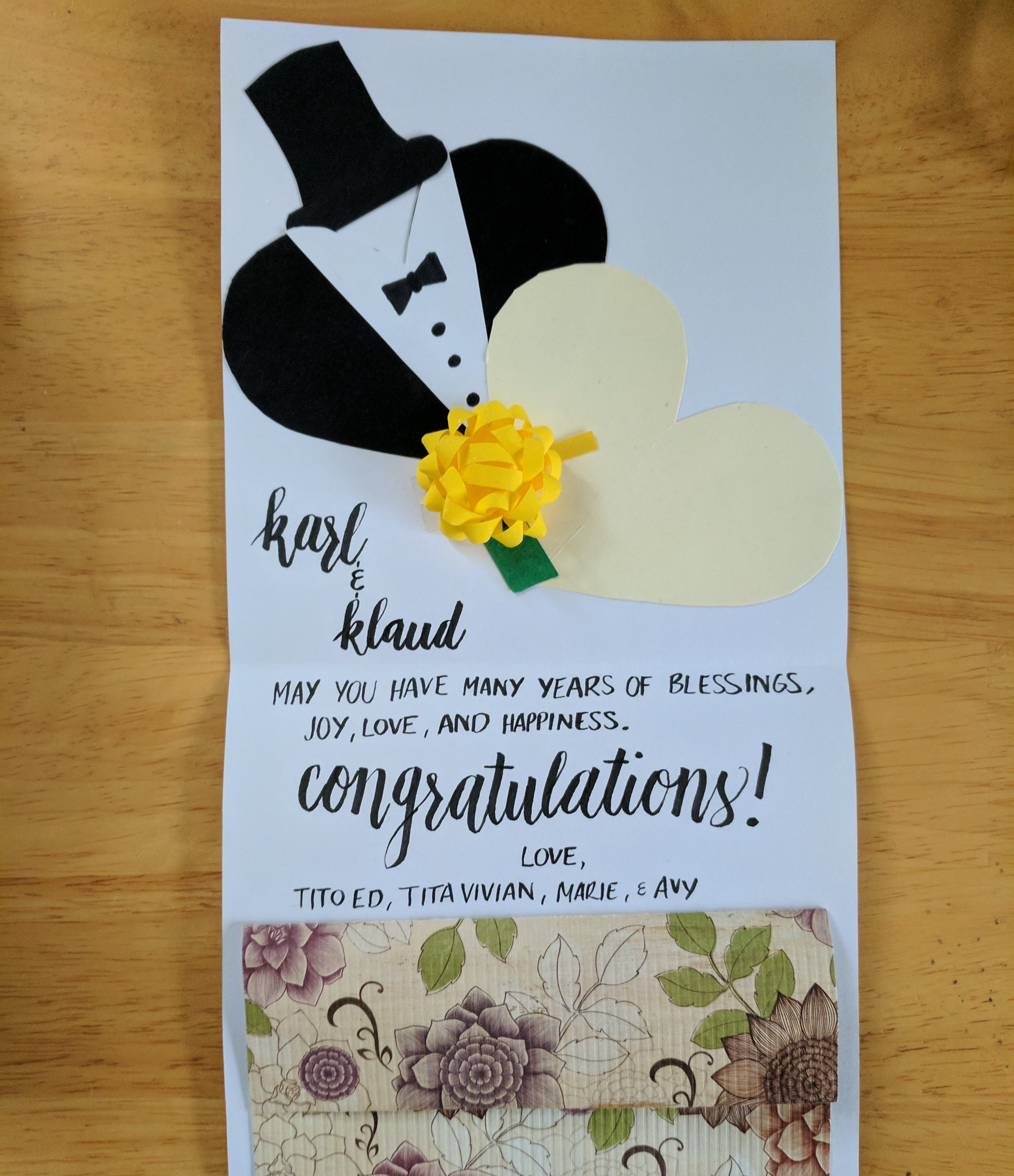 Wedding card for my sister-in-law's brother and his wife.