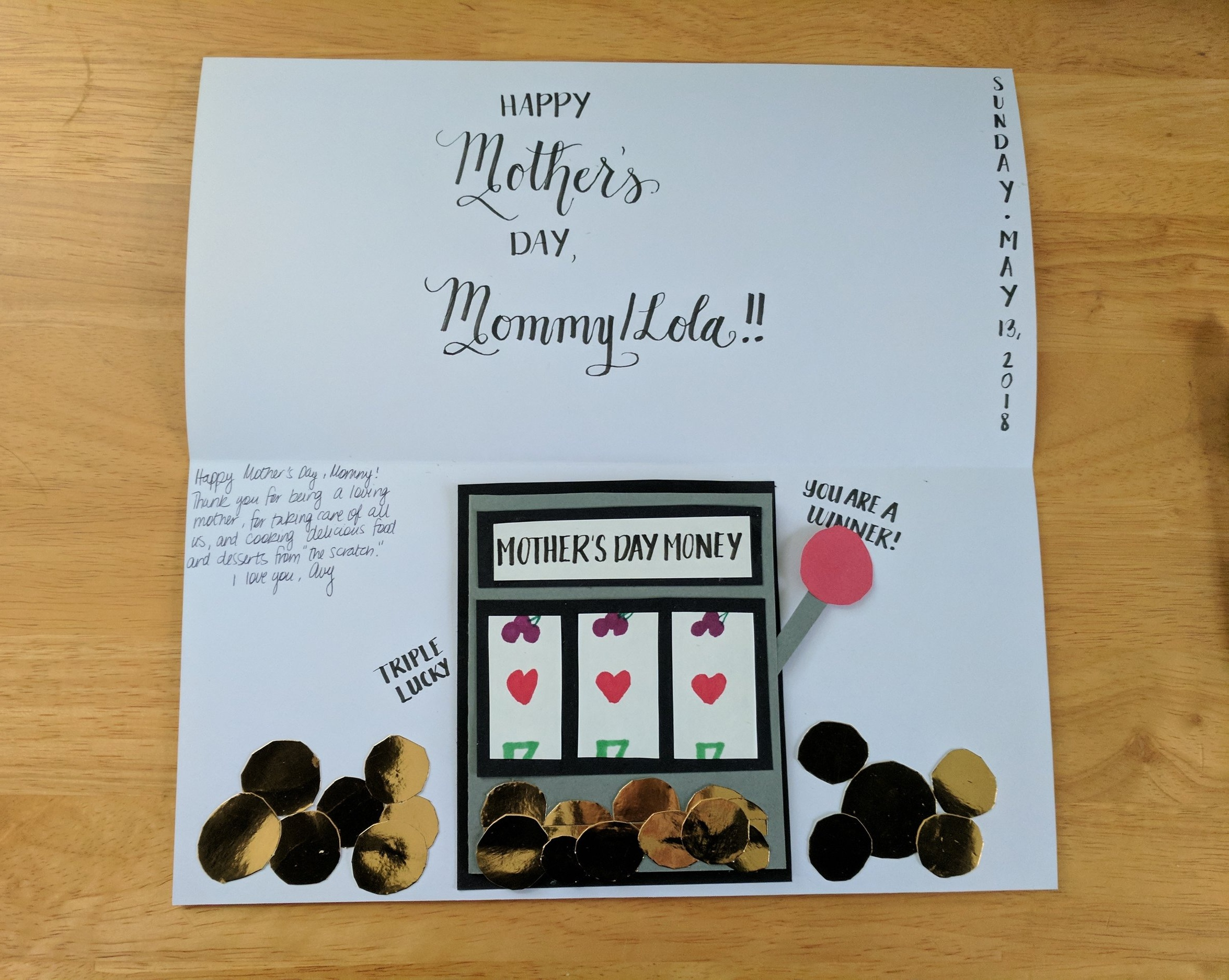 Slot machine card for my mother who likes to go to Atlantic City for special occasions