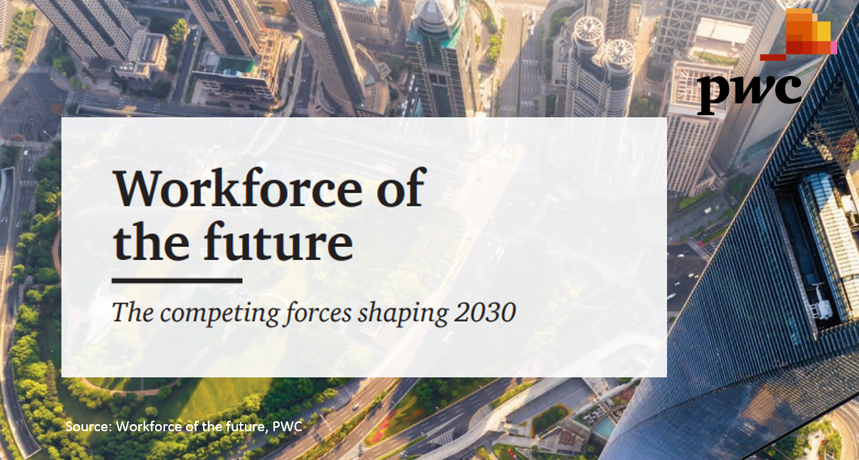 """PWC -Workforce of the future   Automation will replace many human tasks in the next few years. This PWC report describes """"Four World's of Work"""" for 2030. How could the work place look in 2030?"""