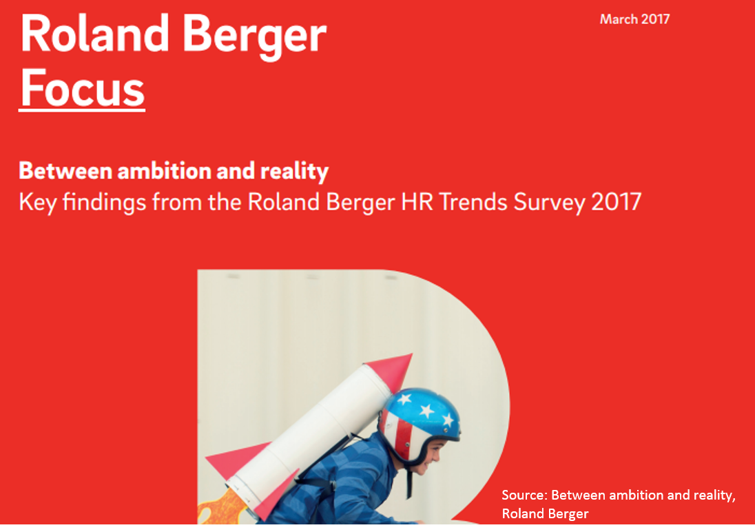 Roland Berger -Between ambition and reality   What makes companies move in respect to human resources? Roland Berger interviewed more than 300 companies to evaluate the state they are in.