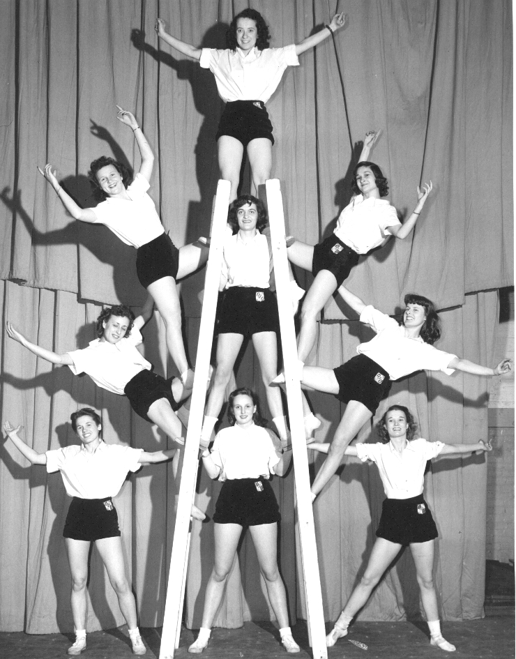 """The original Ladders Pyramids act (1947-1948), """"The Gymkanettes"""""""