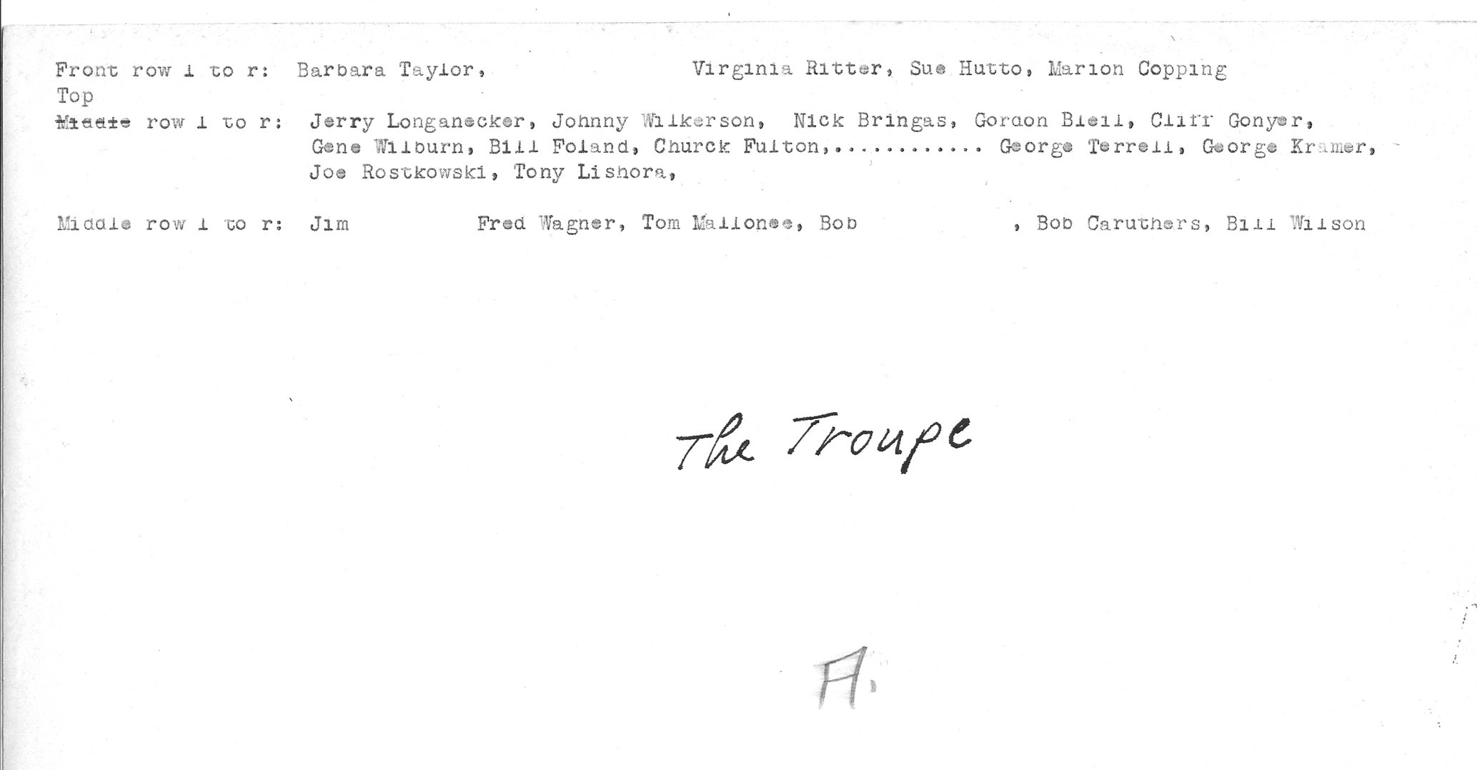 1951 Troupe roster